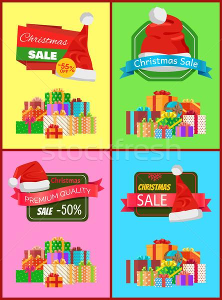 Stockfoto: Christmas · verkoop · posters · ingesteld · geschenken