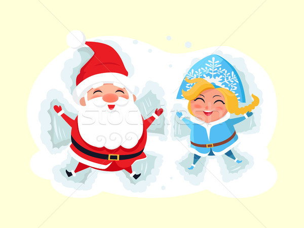 Snow Maiden and Santa Claus Making Angel on Snow Stock photo © robuart