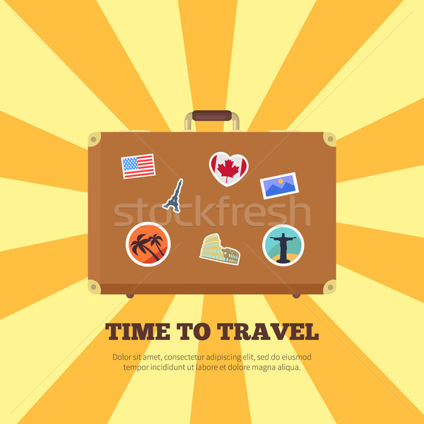 Time to Travel Bright Poster Vector Illustration Stock photo © robuart