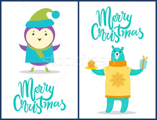 Wesoły christmas zwierząt zestaw plakaty odznaczony Zdjęcia stock © robuart