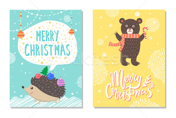 Merry Christmas Wishes from Hedgehog, Bear Candy Stock photo © robuart