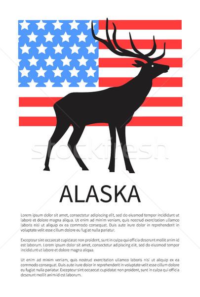 Alasca bandeira ícone rena EUA para cima Foto stock © robuart