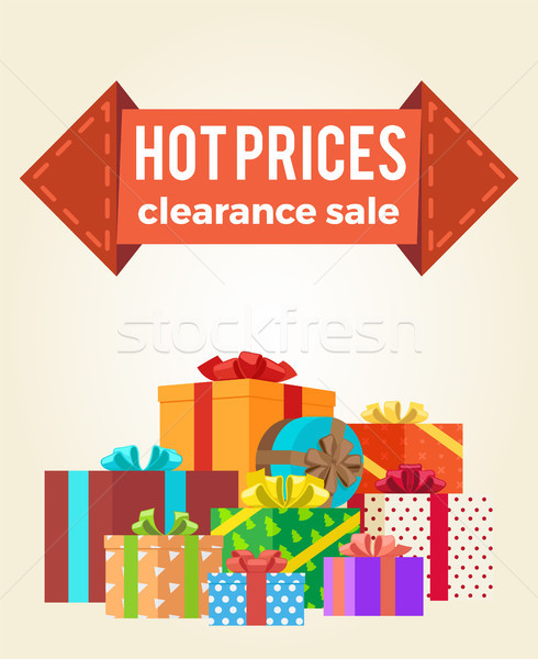 Hot Prices Discounts Clearance Sale Arrow Label Stock photo © robuart