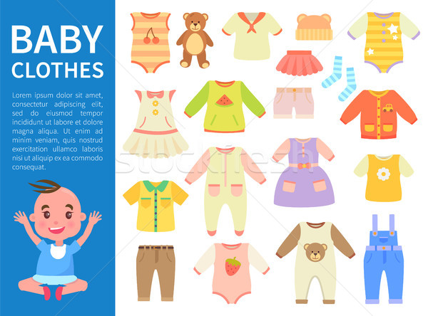 Baby Clothes Color Banner Vector Illustration Stock photo © robuart