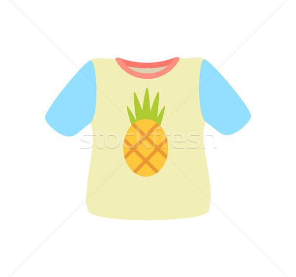 Сток-фото: футболки · ананаса · плакат · рубашку · изображение · экзотический