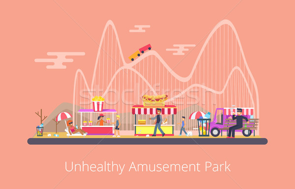 Unhealthy Amusement Park, Vector Illustration Stock photo © robuart