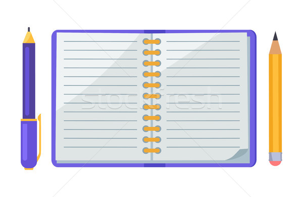 ペン 鉛筆 ノートブック アイコン オープン 孤立した ストックフォト © robuart