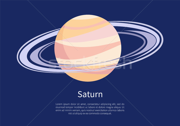 Saturn with Huge Ring Around on Informative Poster Stock photo © robuart