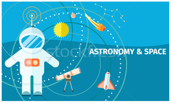 Astronomy and Space Colorful Poster with Spaceman Stock photo © robuart