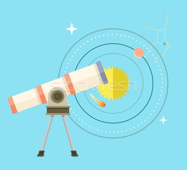 Telescope with Big Zoom and Solar System Scheme Stock photo © robuart