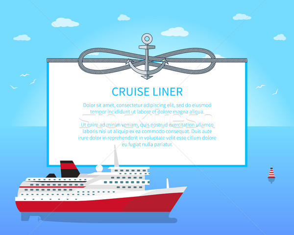 Cruise Liner Colorful Poster Vector Illustration Stock photo © robuart