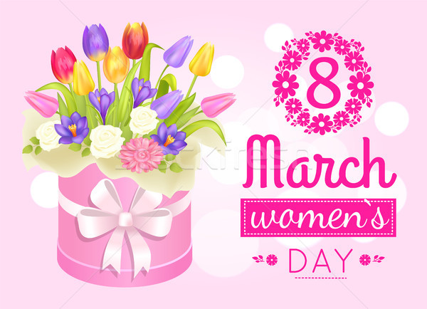 8 March Womens Day Poster with Realistic Bouquet Stock photo © robuart