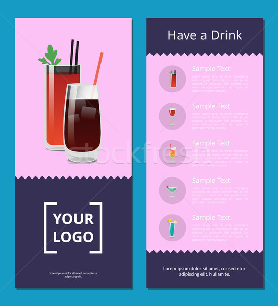 Have a Drink Poster with Bloody Mary Whiskey Cola Stock photo © robuart