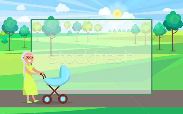 Senior Lady with Trolley Pram Walking in City Park Stock photo © robuart