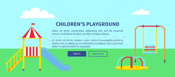 Childrens Playground Web Banner with Slide Vector Stock photo © robuart