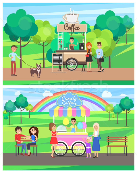 Street Food Posters Colorful Vector Illustrations Stock photo © robuart