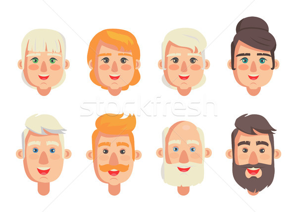 Human Constructor Head Different Hairstyles Vector Stock photo © robuart