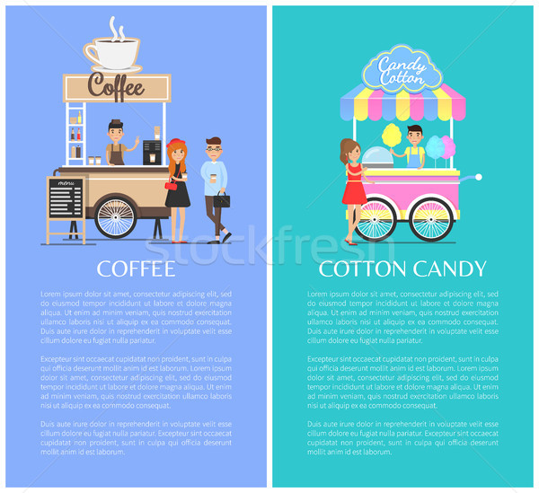 Coffee Shop and Cotton Candy Kiosk Cute Templates Stock photo © robuart