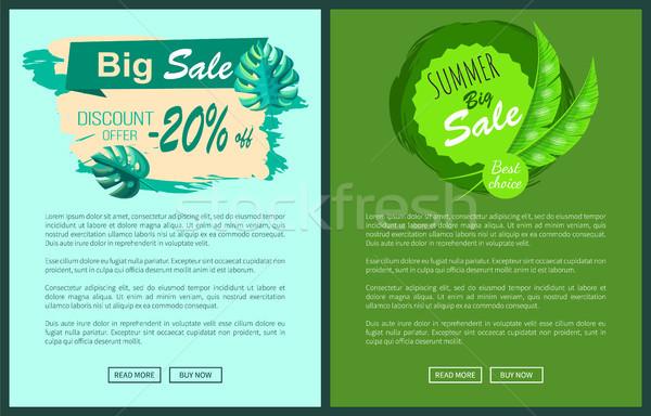 Big Summer Discount Posters Set Sale Emblems Palms Stock photo © robuart