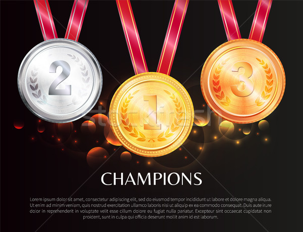 Champions Promo Poster with Medals for Winners Stock photo © robuart