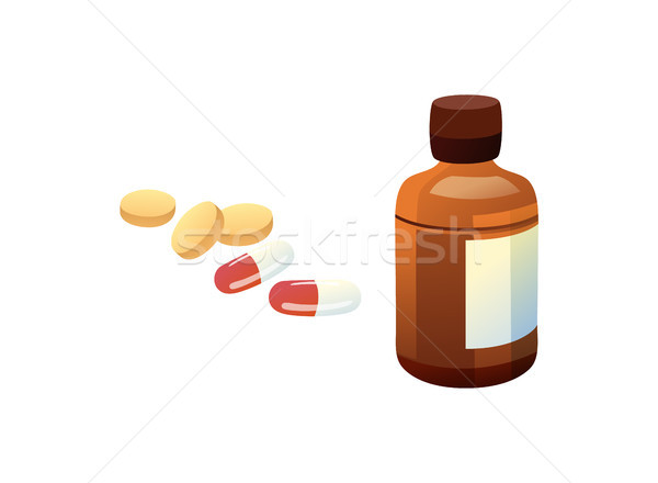 Glass Bottle and Pills Set Vector Illustration Stock photo © robuart