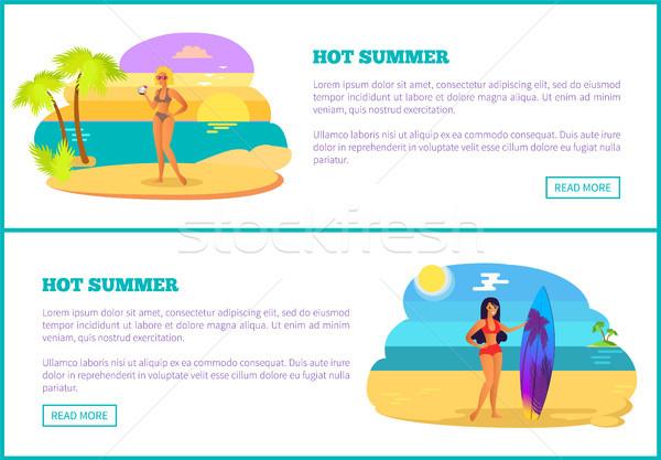 Caliente verano web anunciante playa tropical mujeres Foto stock © robuart
