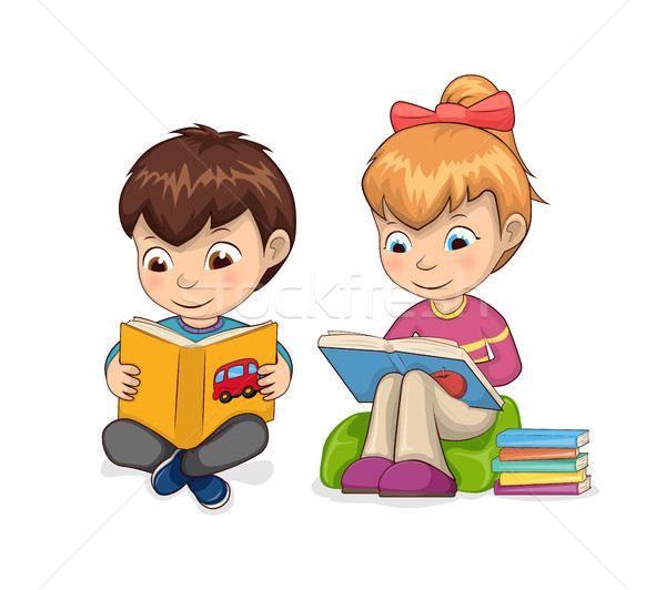 Enfants hobby lecture livres enfants fille Photo stock © robuart