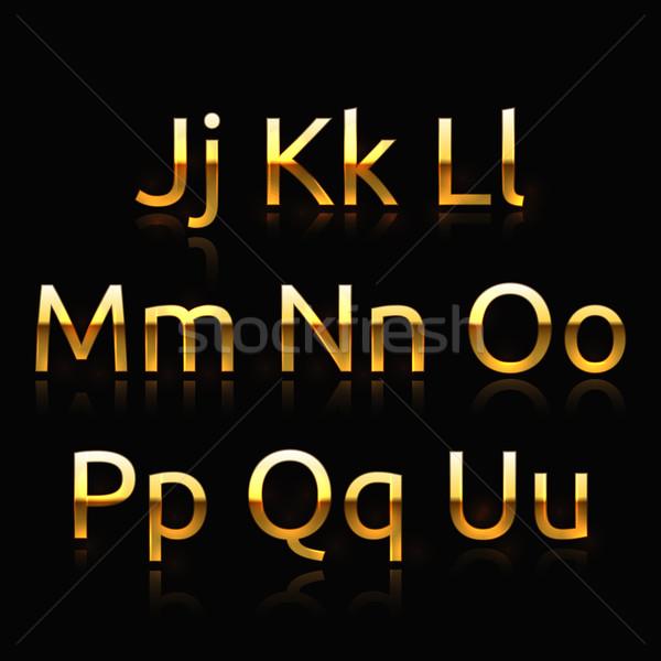 Foto stock: Dourado · alfabeto · conjunto · coleção · arte