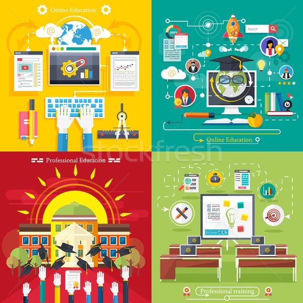 Сток-фото: образование · онлайн · профессиональных · набор · иконки · дизайна