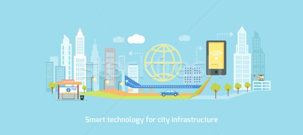 Smart technologie infrastructuur stad icon netwerk Stockfoto © robuart