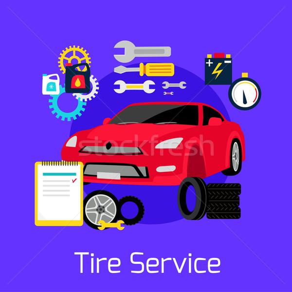 Tire Service Automobile Flat Concept Stock photo © robuart