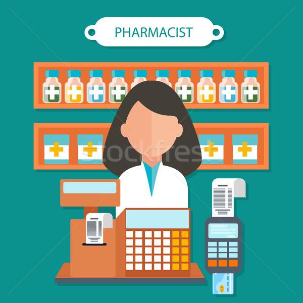 Farmaceuta projektu farmaceutyczny lekarza zdrowia medycznych Zdjęcia stock © robuart
