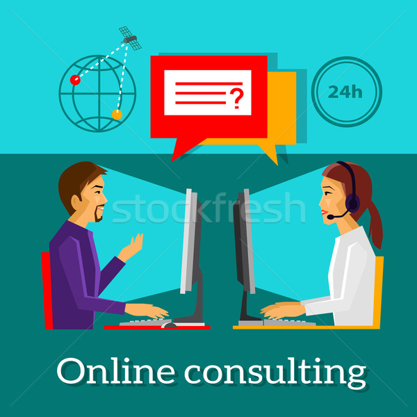 Online Consulting Design Flat Concept Stock photo © robuart