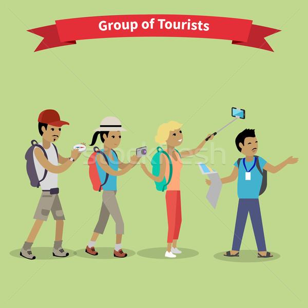 Tourists People Group Flat Style Stock photo © robuart