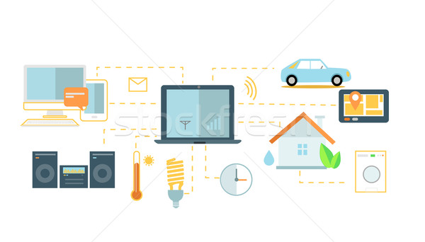 Internet of Things Icon Flat Design Stock photo © robuart