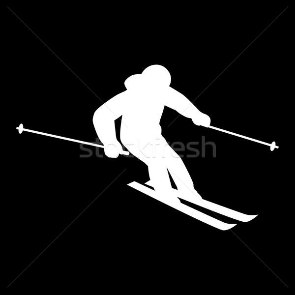 People Skiing Flat Style Design Stock photo © robuart
