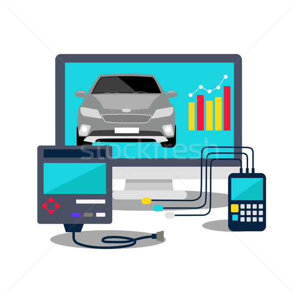 Auto Diagnostics Monitor Flat Concept Stock photo © robuart