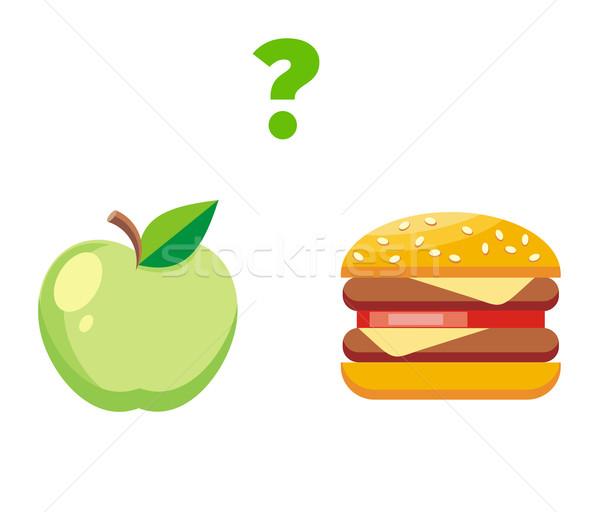 Apple or Burger Food Design Flat Stock photo © robuart