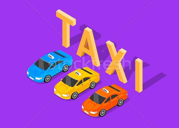 3D изометрический автомобилей такси высокий качество Сток-фото © robuart
