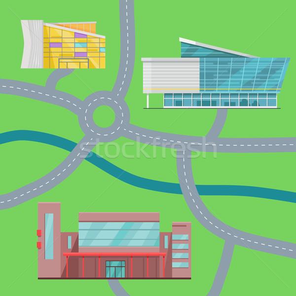 ストックフォト: ショッピング · センター · 地図 · デザイン · 現代 · 商業ビル