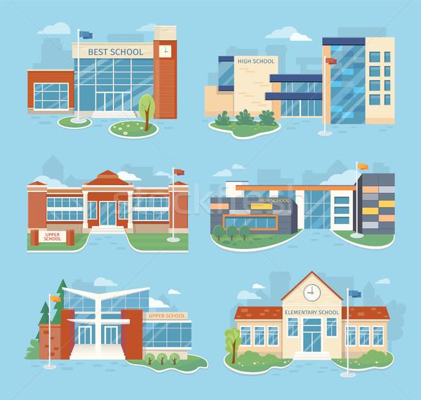 Establecer escuela edificios vector ilustraciones diseno Foto stock © robuart