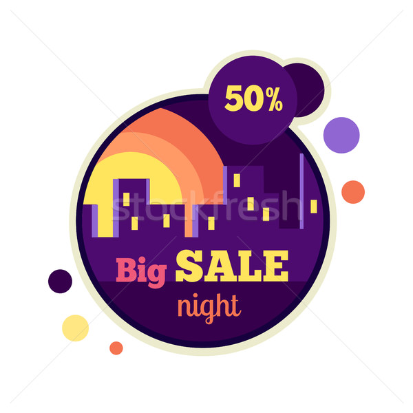 Big Night Sale Round Banner. 50 Percent Off Stock photo © robuart