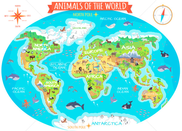 Animals of The World Flat Design Vector Concept Stock photo © robuart