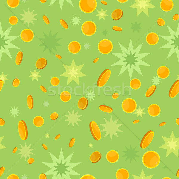 Seamless Pattern with Coins and Star Splashes. Stock photo © robuart
