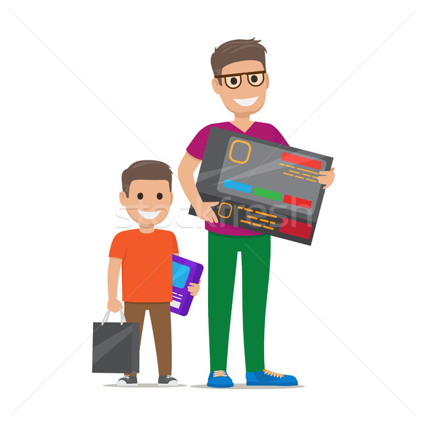 Father with Son Buying Electronics Flat Vector Stock photo © robuart