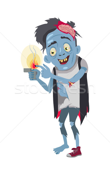 Zombie Isolated. Fictional Being Burning his Finger Stock photo © robuart