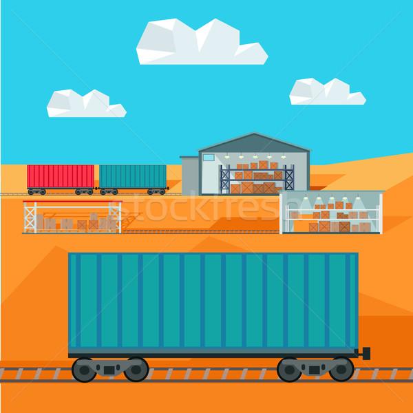 Train Worldwide Warehouse Delivering. Logistics Stock photo © robuart