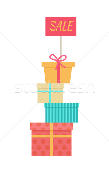 Stock photo: Big Pile of Wrapped Gift Boxes Vector Sale Concept