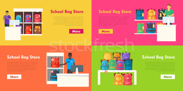School Bag Store Vector Set. Seller at the Counter Stock photo © robuart