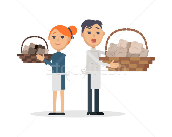 Truffles sellers with mushrooms in wicker baskets Stock photo © robuart